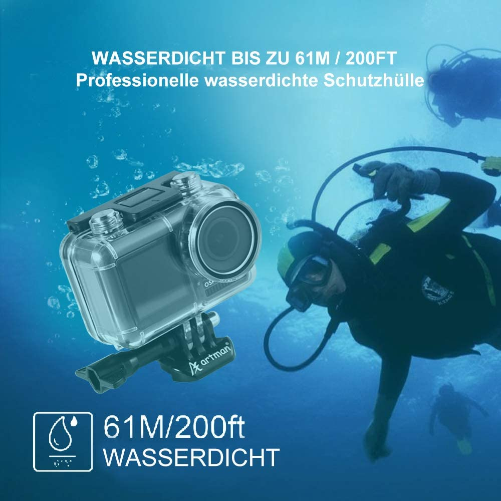 Homesuit Unterwassergeh/äuse f/ür DJI Osmo Action Camera Diving Schutzh/ülle//Geh/äuse//Shell 200ft 61M mit 12 Anti-Fog-Eins/ätzen und einem tragbaren Beutel zur Aufbewahrung