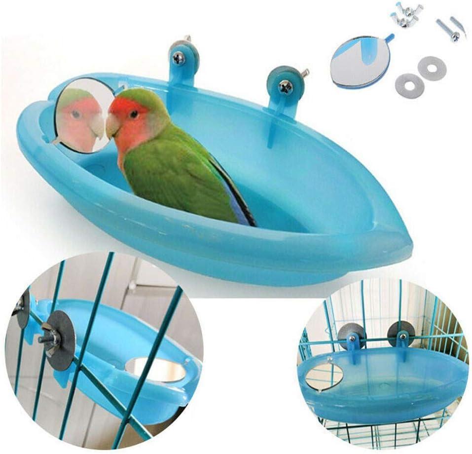 Supercat Comedero de baño de Tina de baño Tazón de Fuente de baño para pájaros Colgante de Aves Juguete para Mascotas Cockatiel Jaula Ducha de Agua Alimentador de Alimentos con Espejo