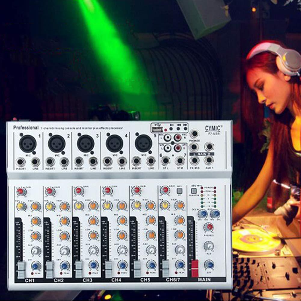 7 canali Mic Line Audio Mixer per karaoke KTV Match Party Mixer Live Studio-Grade Stereo FX F7-USB Yiwa
