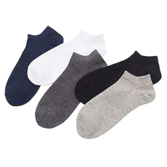 Fenido 5 Pares Calcetines Tobilleros Barco de Algodón para Hombres Calcetines Cortos Deportivos Casuales Respirable