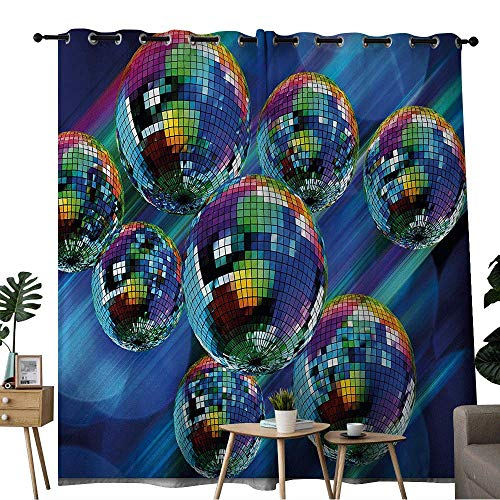Disco Goldfish Shoes (Bohogift 70s PartySliding Glass Door curtainColorful and Funky Vibrant Disco Balls in Abstract Night Club Dancing Theme ArtCurtain Ceiling)