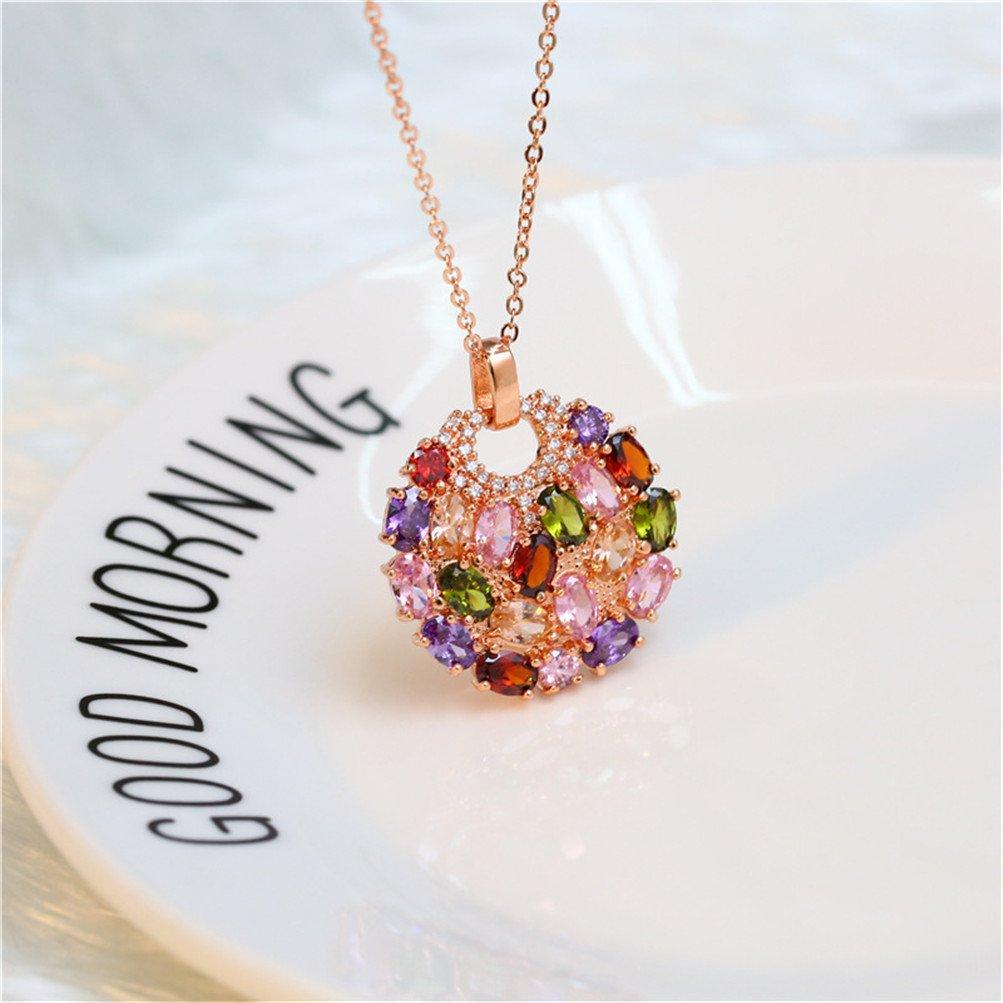 Mrsrui Womens Bohemian Multi Color Crystal Statement Necklace Magic Life Birthstone Jewelry