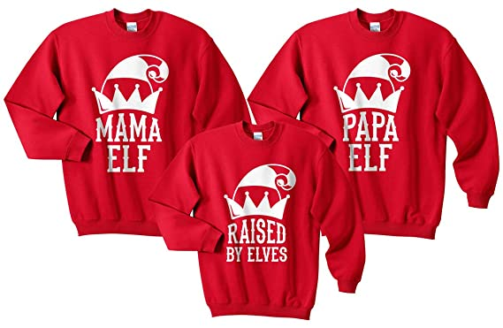 e9ef54ba Sanfran - Raised by Elves Mama Papa Elf Christmas Xmas Matching Set Top  Father Mother and Daughter Son Child Kids Jumper Sweater: Amazon.co.uk:  Clothing