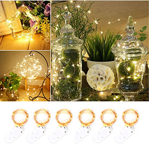 6 PCS Sanniu Fairy Lights Battery Operated 7.2ft(2M) 20 Leds, Micro String Lights Copper Wire Batteries Powered String Light For Wedding Centerpiece Dinner Party Decoration