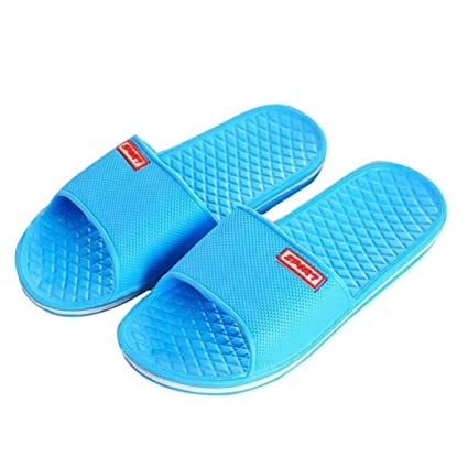 9ad08fc6afc1a Fheaven Women Summer Sandals Solid Flat Bath Slippers Beach Slippers Indoor  & Outdoor Slippers (Blue
