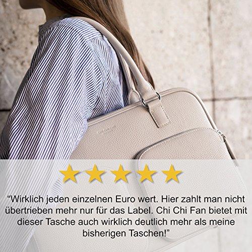 CHI CHI FAN City Bag - Schwarz | Damen Echt-Leder Handtasche aus genarbtem Rindsleder von Hamburger Designer-Label | Top Qualität, Design und maximale Funktion | Für Business und Freizeit Stone