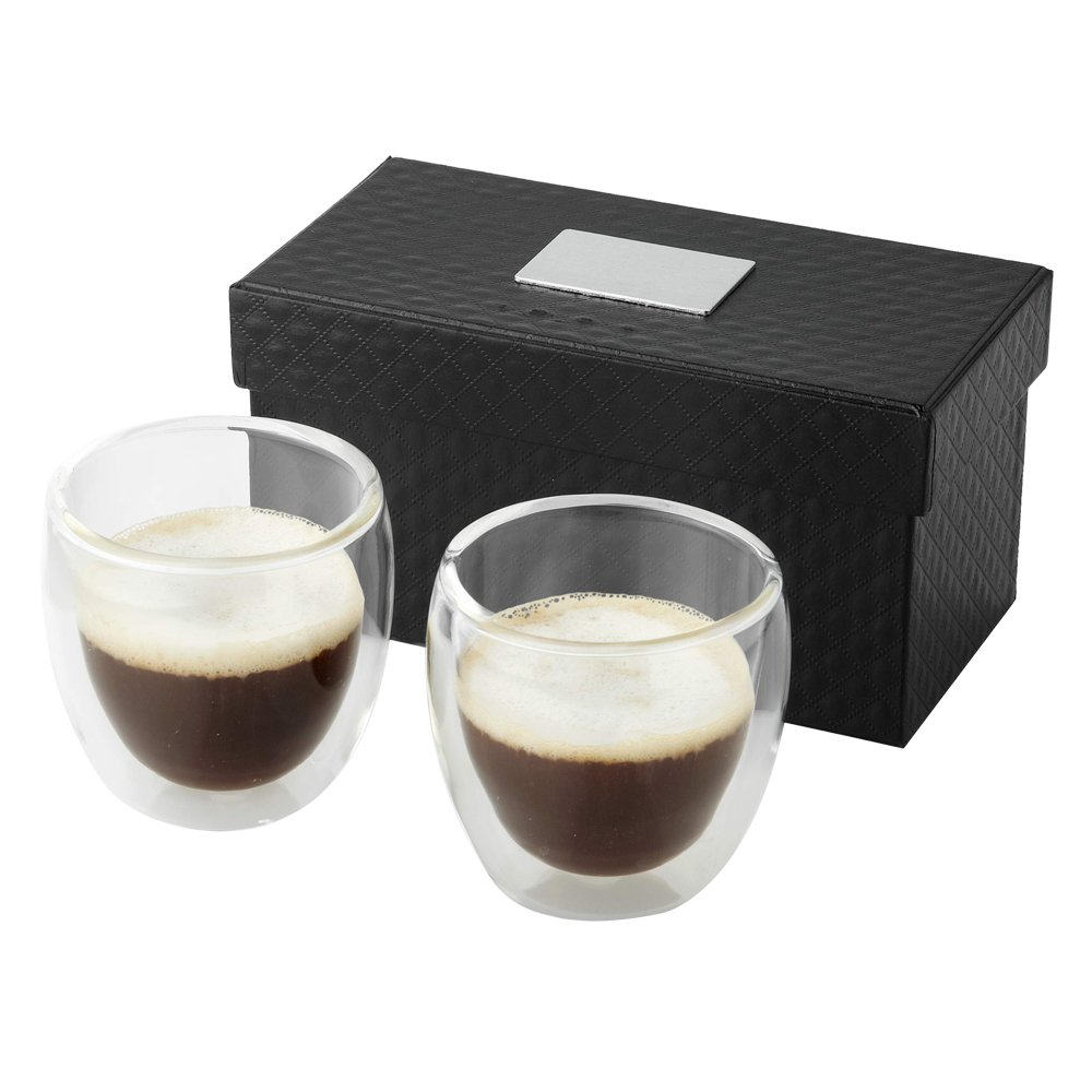 eBuyGB Double Walled Espresso Coffee Cups Set, Transparent, 50 ml 1256522
