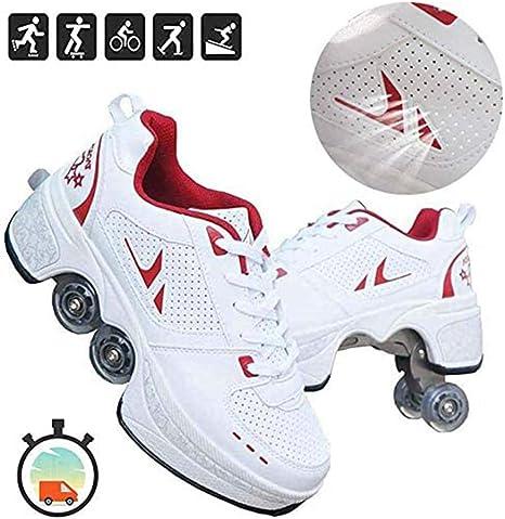 Fbestxie 2-En-1 Zapatos Multiusos Zapatillas Diseño Elegante Principiante Ajustable Patines De Cuatro Ruedas Calzado Skateboarding,39: Amazon.es: Deportes y aire libre