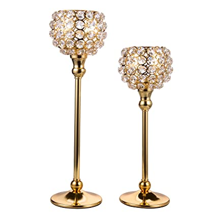 Feyarl Sparkly Crystal Gold Candle Holder Candlestick Candelabra For Wedding Centerpieces Festival Decoration Home Decor