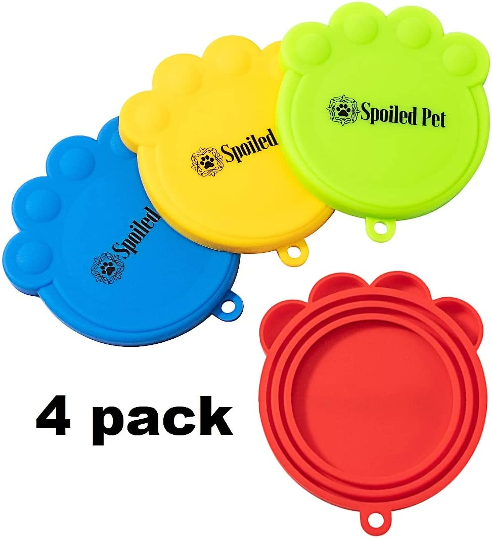 Spoiled Pet Silicone Covers for Cat and Dog Canned Food Storage - Universal Fitting Tops for All Standard Size Cans - FDA Approved - Dishwasher Safe - Keeps Food Fresh