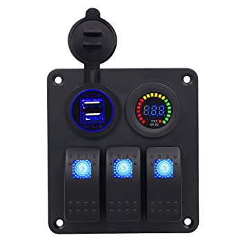 610x2t7EXQL._SY355_ amazon com bluefire 3 gang led rocker switch panel with dc 12v 4 Gang Switch Box at gsmx.co