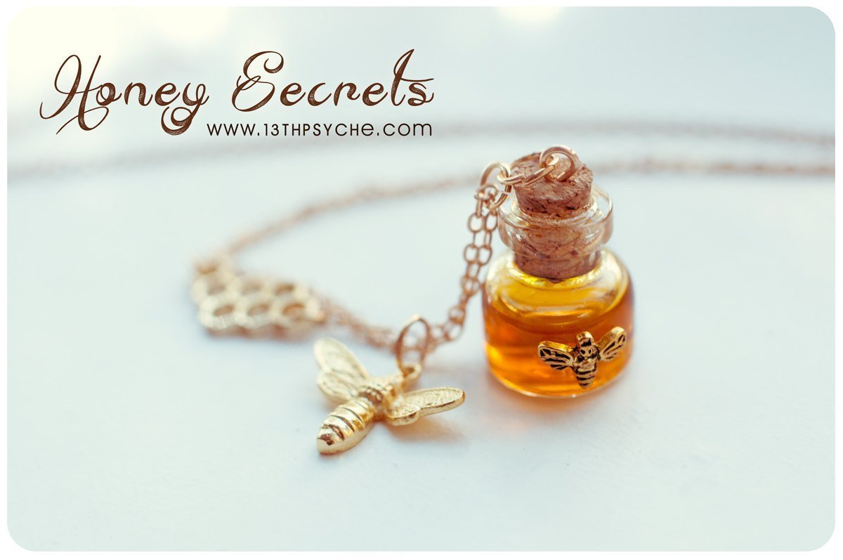 Honey Bottle necklace. Glass vial necklace, gold honeycomb necklace, miniature jewelry, bee necklace, potion bottle pendant, gift for women … gift for women …