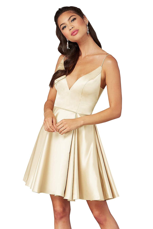 Champagne Beauty Bridal Women's V Neck Satin Formal Prom Dress Short Homecoming Dresses Z65
