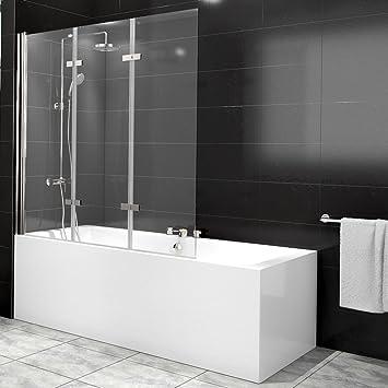 Duschabtrennung Badewanne Duschwand Badewannenfaltwand Glas Dusche 3 Flügel  Nano   Links