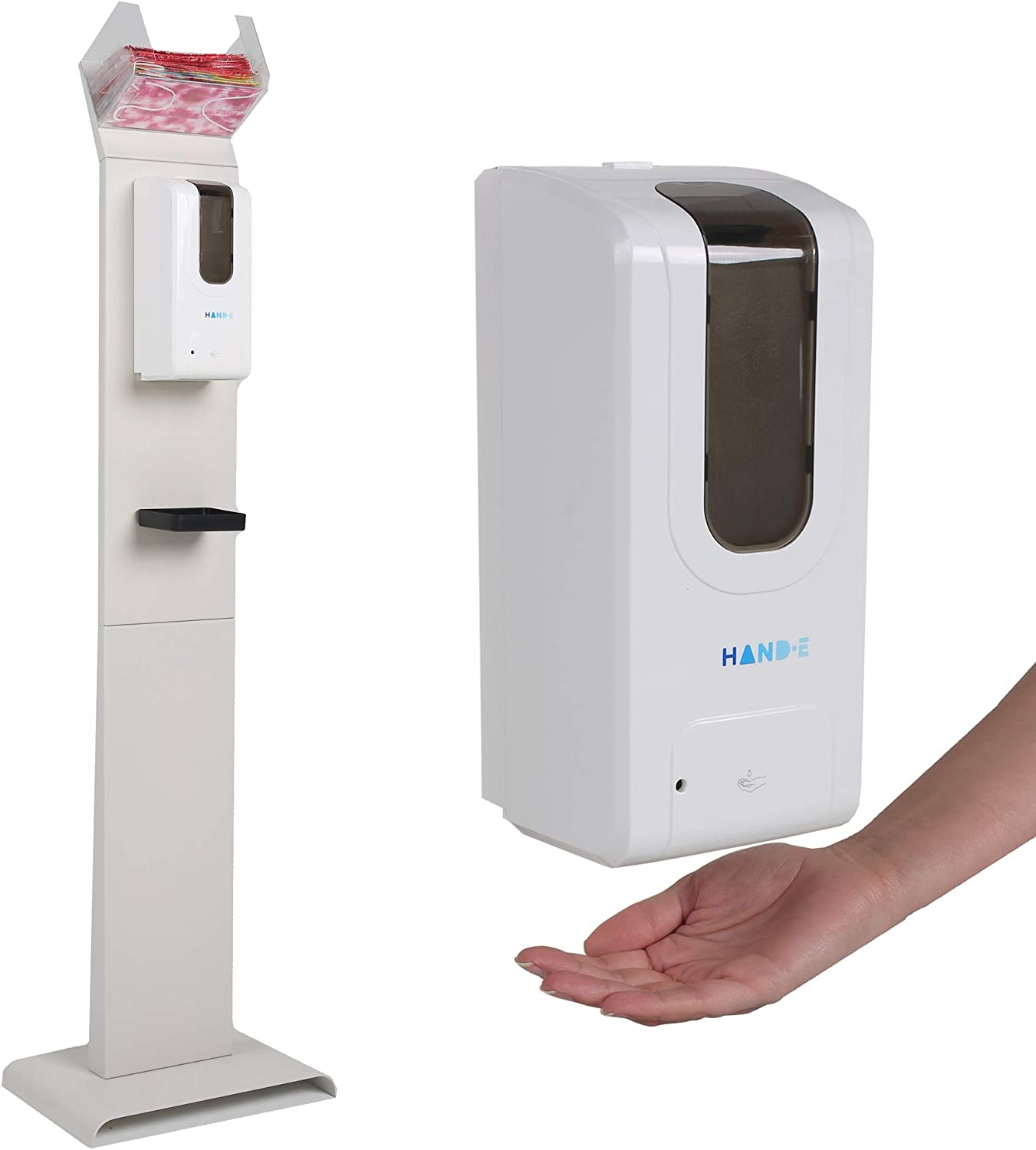 Automatic Hand Sanitizer Dispenser Stand with Face Mask Dispenser - Universal Touchless Hand Soap Dispenser - Liquid or Gel Hand Sanitizer Station - Wall Mounted or Stand - Drip Catcher Tray - White: Kitchen & Dining