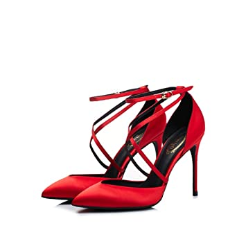 Damen 2018 High Heels - Regenbogen 2018 Damen Neu 10cm High Heel Sandaletten Frauen Rot Kreuz Bandage Hollow Pump Schuhe... 6c95ad
