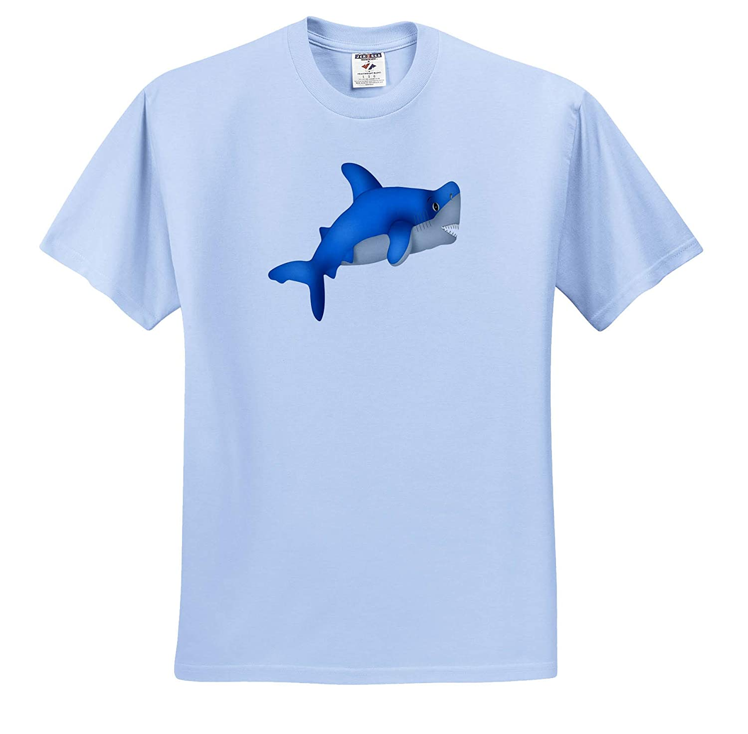 Cute Blue and Gray Shark Illustration Illustrations ts/_318001 3dRose Anne Marie Baugh Adult T-Shirt XL