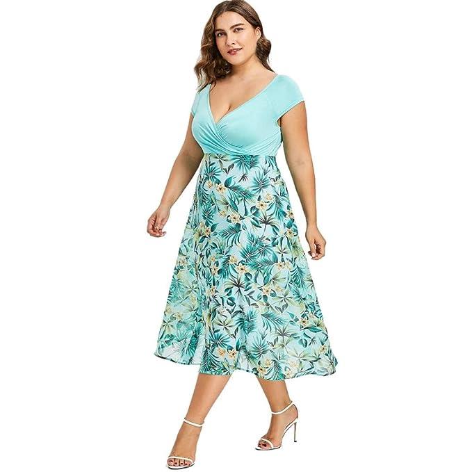 VENMO Frauen Kleider V-Ausschnitt Wrap Chiffon Kurzarm Plus Size ...
