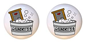 SET OF 2 KNOBS - Chore #51 Laundry 5 Cents Washboard Sudsy Wash Tub - Laundry Room by CCL - DECORATIVE Glossy CERAMIC Cupboard Cabinet PULLS Dresser Drawer KNOBS