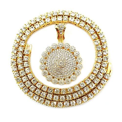 HH Bling Empire Mens Iced Out Hip Hop Gold Artificial Diamond Ankh Cross cz Tennis Chain 22 Inch (Tennis Chain & Flower A)