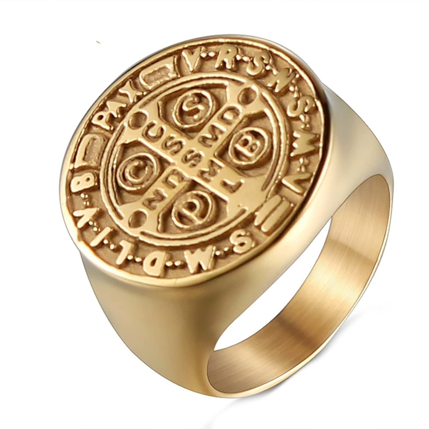 JAJAFOOK Men Stainless Steel Gold Plated St Benedict Exorcism Signet Ring Catholic Cross