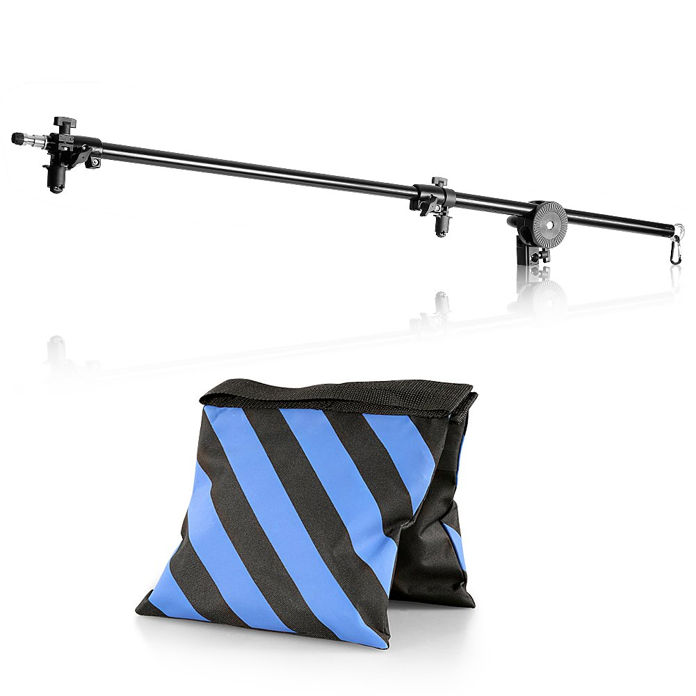 Neewer 30''-75''/76-190cm Swivel Head Aluminum Alloy 1/4'' Thread Mount Boom Arm Holder with Sandbag for Reflector,LED Video Light,Strobe Light,Monolight and Other Photographic Equipment by Neewer
