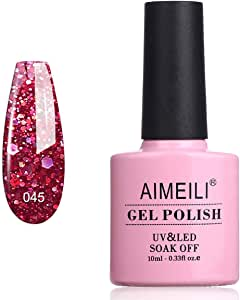 AIMEILI Soak Off UV LED Gel Nail Polish - Diamond Glitter Merlot Red (045) 10ml