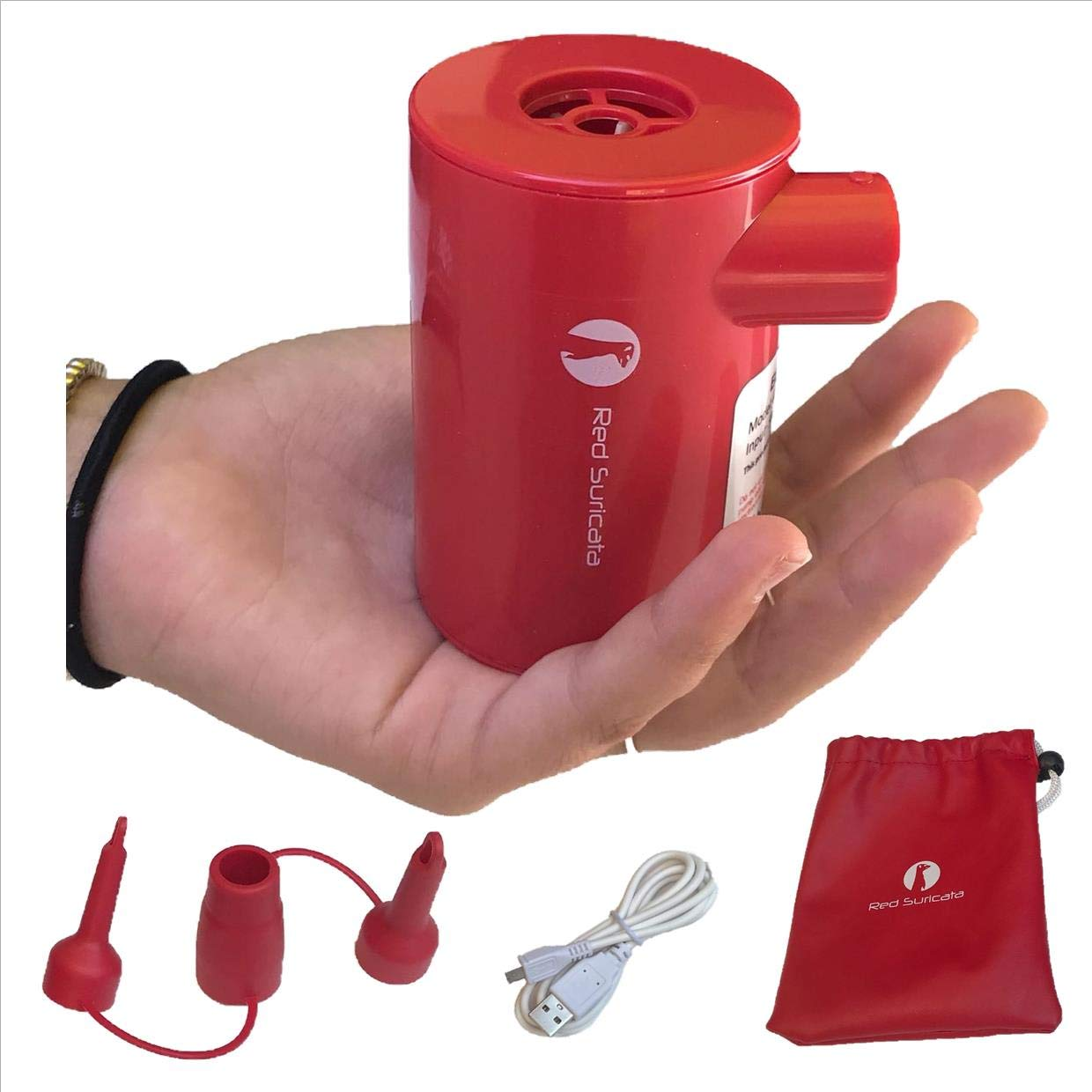 Red Suricata Rechargeable Air pump – Lightweight, USB, portable, cordless, electric battery powered & operated mini air pump for inflatables, mattresses, lounger sofa, pool floats, vacuum bags, airbed
