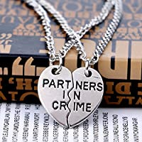 Honeshop Heart Best Friend Crystal Animal Necklace Pendant Jewelry Friendship BFF Gift 2PC Part Ners In Crime