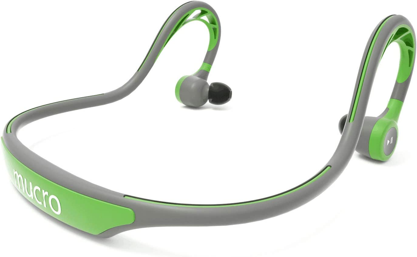 MUCRO Wireless Bluetooth Earbuds Behind Neck, Running Ear Phones with Mic,Sweatproof Built-in Stereo Noise Cancelling Headphones for Sports Gym Workout Green