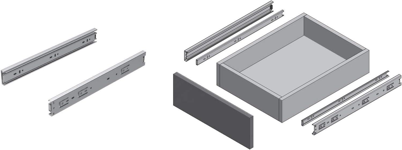 Glissi/ères pour tiroirs /à roulement /à billes Longueur 300mm H45mm Lot de 2 1 paire