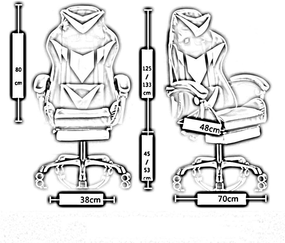 JIEER-C Chair Pc Chaise Vidéo D\'Ordinateur, Siège de Bureau de Course de Jeu à Dossier Haut Design Ergonomique avec Hauteur Réglable et Support Lombaire, Bleu Blanc Rouge Blanc