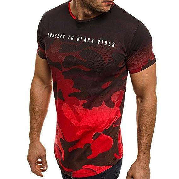 Camisetas Hombre Manga Corta,Venmo Hombres Personalidad Camuflaje Casual Slim fit Camisetas con Manga Corta Camisa Blusa…