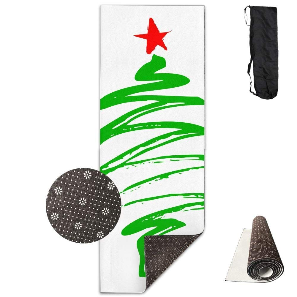 Yoga Mat Non Slip Christmas Tree Printed 24 X 71 Inches Premium for Fitness Exercise Pilates with Carrying Strap