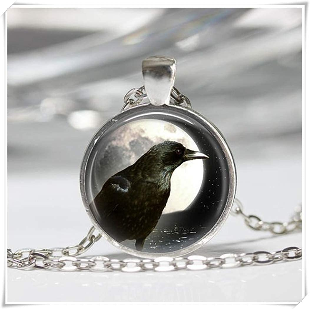 Raven Necklace,Black Bird in Moon Pendant, Dome Glass Ornaments, Hand-Made wish dandelion
