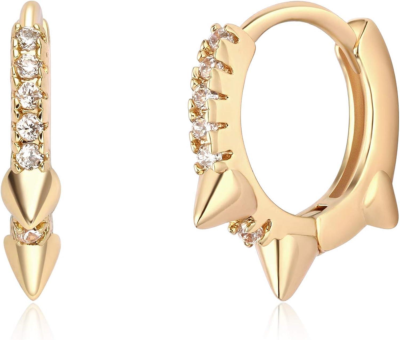 Mevecco Gold Huggie Hoop Earrings for Women 14K Gold Plated Small Spike Earring Dangle Hoop Cuff Earrings Huggie Stud Earrings for Women