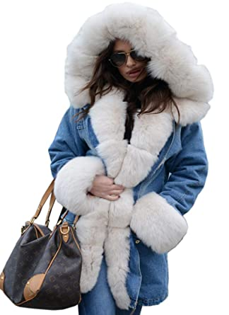 1cea6de69 Aofur Womens Casual Faux Fur Coat Hooded Denim Jacket Thick Warm ...