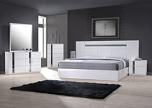 J M Furniture Palermo White Lacquer With Chrome Accents Queen Size Bedroom Set