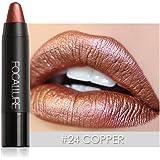 Metallic Lipstick Rose Gold,Molie Metal Matte Lip Crayon Long Lasting Waterproof