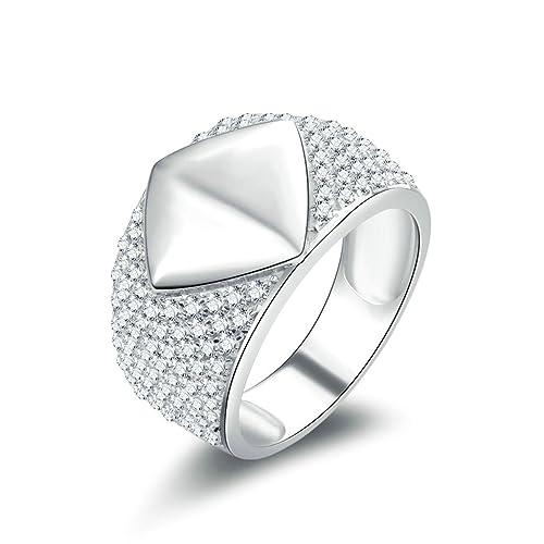 Daesar Joyería Anillo Compromiso de Plata Hombre, Pulido Diamante Forma Alianzas Boda Originales Piedras Preciosas