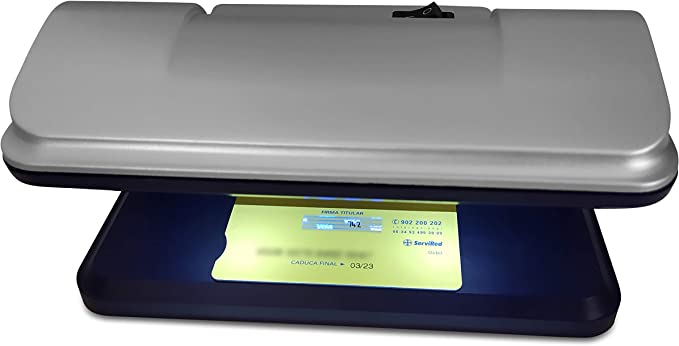 DIVADIS Detector de Billetes Falsos con Luz UV LED Ultravioleta Portátil, Verificación de Documentos de Identidad DNI Pasaporte y Tarjetas de Pago Crédito Débito: Amazon.es: Oficina y papelería