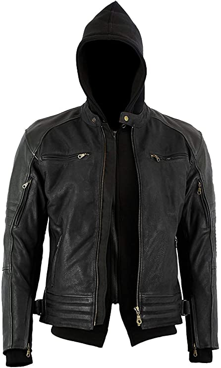 Veste /à capuche blind/ée amovible pour moto et moto Noir Taille L