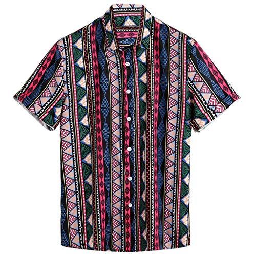 Beautyfine Men shirt Ethnic Style Stripe Printed Turndown Collar Casual Short Sleeve T-Shirts Red