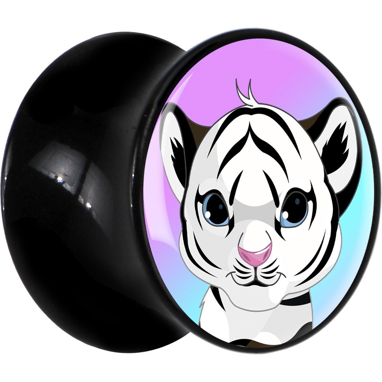 BodyCandy Negro Acrílico bebé tigre blanco DILATADOR Par 7mm: Amazon.es: Joyería