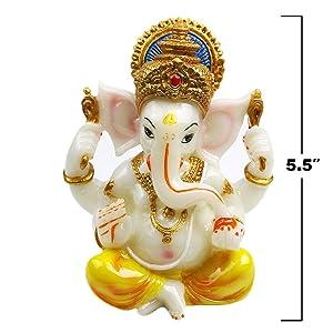 India Ganesh Statue Diwali Decor - Hindu Lord Ganesha Idol - Indian Meditation Temple Mandir Puja Items
