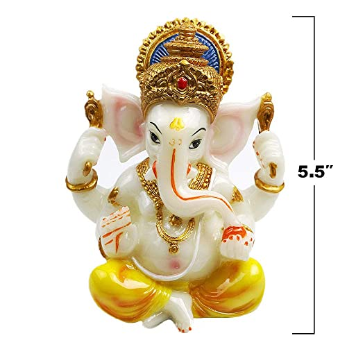 India Ganesh Statue Diwali Decor – Hindu Lord Ganesha Idol – Indian Meditation Temple Mandir Puja Items