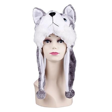 Eozy-Cappello Felpato di Aniamle-Bianco Lupo Grigio  Amazon.it  Prima  infanzia 476614476396