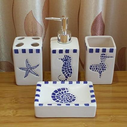 Portasapone Bagno In Ceramica.Aldongpeng Set Di Accessori Da Bagno In Ceramica Stile