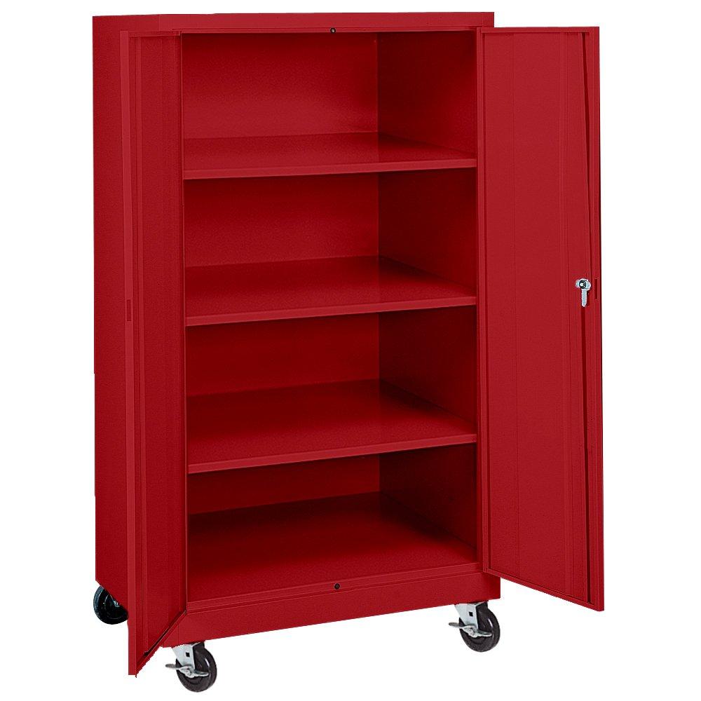 Sandusky Lee TA3R362460-01 Steel Transport Mobile Storage Cabinet, 4 Adjustable Shelves, 66'' Height x 36'' Width x 24'' Depth, Red