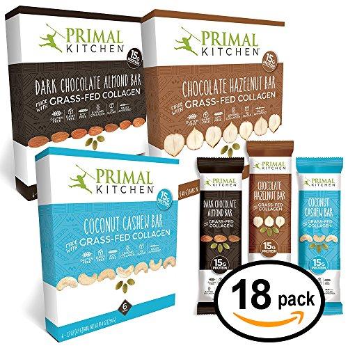 Primal Kitchen U2013 Coconut Cashew, Dark Chocolate And Hazelnut Protein Bars,  Variety 3 Pack